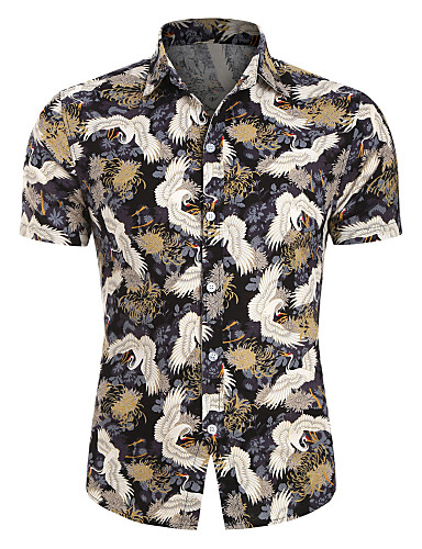 cheap Men's Shirts-Men's Animal Crane Print Shirt Hawaiian Daily White