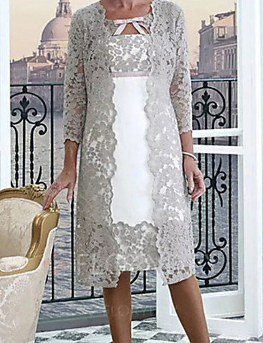cheap With Jackets & Wraps-Two Piece A-Line Mother of the Bride Dress Wrap Included Jewel Neck Knee Length Lace Half Sleeve with Appliques 2020 Mother of the groom dresses