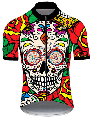 cheap Cycling Jerseys-21Grams Men's Short Sleeve Cycling Jersey Nylon Polyester Red / Yellow Skull Floral Botanical Funny Bike Jersey Top Mountain Bike MTB Road Bike Cycling Breathable Quick Dry Ultraviolet Resistant