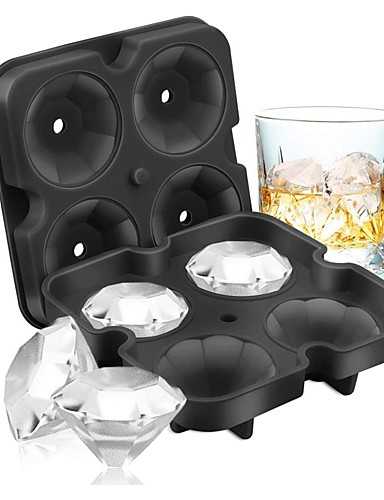 cheap Drinkware-4 Grid Diamond Ice Cube Tray Reusable Ice Cubes Maker Silicone Ice Cream Molds Form Chocolate Mold Whiskey Party Bar Tools