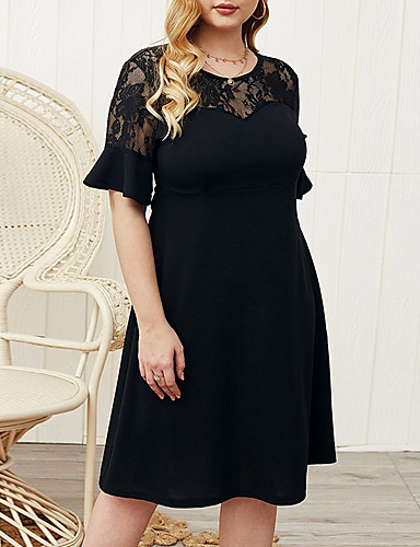 cheap Plus Size Collection-Women's A-Line Dress Knee Length Dress - Half Sleeve Solid Color Summer Work 2020 Black XL XXL XXXL XXXXL
