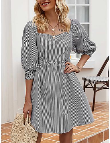 Χαμηλού Κόστους Για νεαρές γυναίκες-Γυναικεία Φόρεμα ριχτό από τη μέση και κάτω Μίνι φόρεμα - Μισό μανίκι Ριγέ Καλοκαίρι Καθημερινό 2020 Μαύρο Τ M L XL