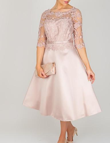 זול שמלות לאם הכלה-גזרת A שמלה לאם הכלה  אלגנטית עם תכשיטים באורך הקרסול תחרה סאטן שרוול 4\3 עם ריקמה 2020