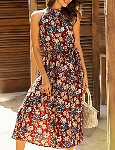 ราคาถูก สินค้ามาใหม่-สำหรับผู้หญิง เดรสทรงตรง เดรสยาวครึ่งน่อง - เสื้อไม่มีแขน ลายดอกไม้ ฤดูร้อน ทำงาน ไม่เป็นทางการ 2020 ทับทิม S M L XL