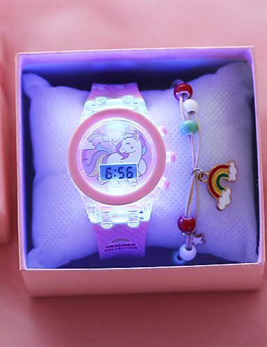 رخيصةأون ساعات موضة-أطفال ساعة رقمية كلاسيكي موضة الوردي سيليكون رقمي وردي بلاشيهغ الكرونوغراف جميل ضوء LED 1SET رقمي / قضية