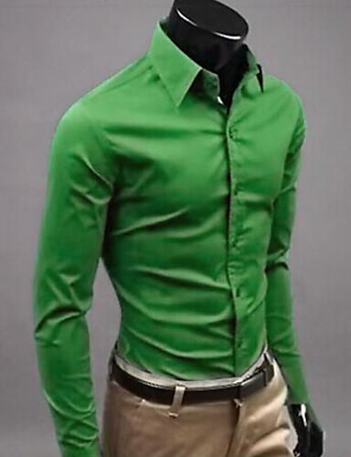 cheap Men's Shirts-Men's Solid Colored Slim Shirt Business Street chic Wedding Formal Work White / Black / Yellow / Light Green / Pink / Long Sleeve