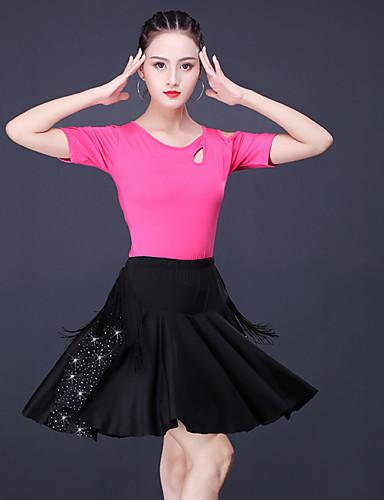 cheap Latin Dancewear-Latin Salsa Dance Skirts Tassel Crystals / Rhinestones Women's Training Performance Short Sleeve Natural Polyester