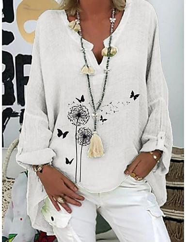 povoljno Ženske majice-Žene Majica s rukavima Cvjetni print Tops V izrez Dnevno Ljeto Obala purpurna boja Blushing Pink S M L XL 2XL 3XL
