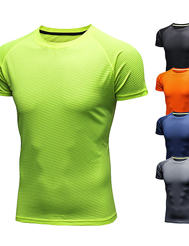 cheap Sports Athleisure-Men's Running T-Shirt Short Sleeve Ice Silk Breathable Quick Dry Moisture Wicking Gym Workout Running Walking Fitness Jogging Sportswear Tee T-shirt Black Orange Green Navy Blue Gray Activewear