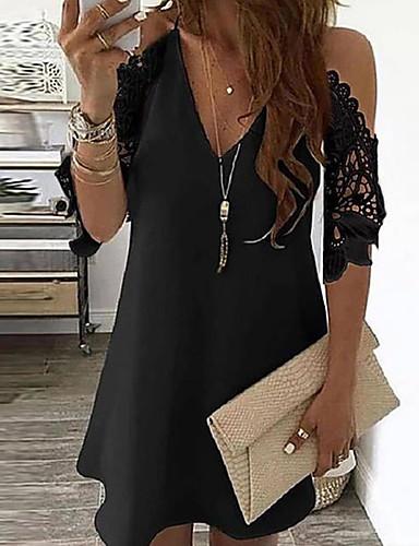 cheap Print Dresses-Women's Sundress Short Mini Dress - Short Sleeve Polka Dot Floral Print Summer V Neck Vacation Going out 2020 White Black Gold Navy Blue Rainbow Beige S M L XL XXL XXXL XXXXL XXXXXL