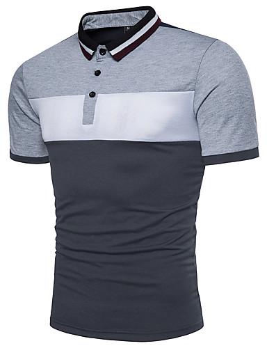 cheap Men's Clothing-Men's Color Block Black & White Basic Polo - Cotton Active Daily Shirt Collar Red / Yellow / Light gray / Summer / Short Sleeve