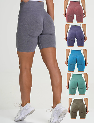 cheap Exercise, Fitness & Yoga-Women's High Waist Yoga Shorts Seamless Shorts Butt Lift 4 Way Stretch Moisture Wicking Purple Red Blue Nylon Gym Workout Running Fitness Sports Activewear High Elasticity Slim