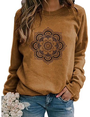 cheap Sweaters & Cardigans-Women's Sweatshirt Floral Casual Blue Khaki Green S M L XL XXL XXXL