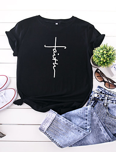 cheap Women's T-shirts-Women's Faith T-shirt Letter Print Round Neck Tops 100% Cotton Basic Basic Top Black Yellow Blushing Pink