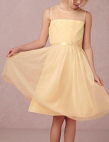 お買い得  ジュニアブライドメイドドレス-Aライン 膝丈 チュール ジュニアブライドメイドドレス とともに 多層