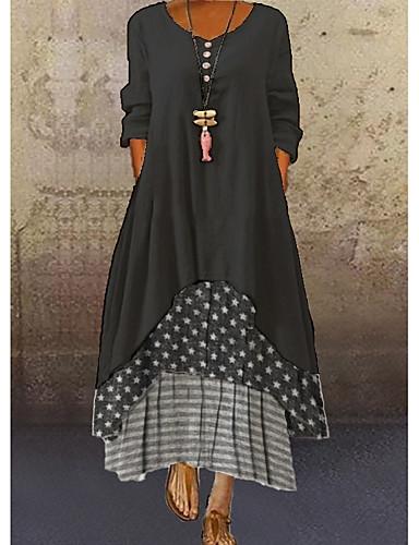 povoljno Male crne haljine-Žene Maks haljina - 3/4 rukava Na točkice Kolaž Ljeto Ležerne prilike Dnevno Širok kroj 2020 Tamno siva M L XL XXL XXXL