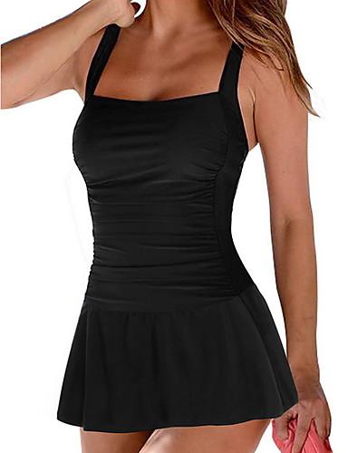 お買い得  レディース スイムウェア-女性用 ワンピース スイムウェア 水着 水着 - ソリッド ブラック ブルー ルビーレッド グリーン S M L