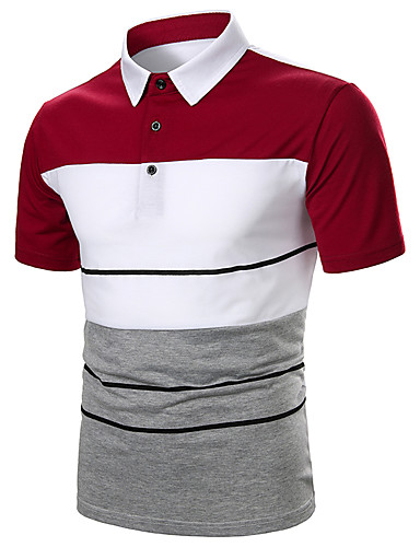 cheap Men's Polos-Men's Color Block Black & Red Patchwork Polo Basic Daily Work Black / Red
