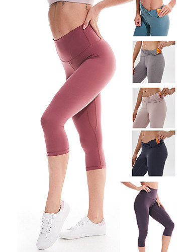 cheap Yoga Clothing-Women's High Waist Yoga Pants Hidden Waistband Pocket Capri Leggings Tummy Control Butt Lift 4 Way Stretch Black Purple Red Nylon Spandex Non See-through Fitness Gym Workout Running Sports Activewear