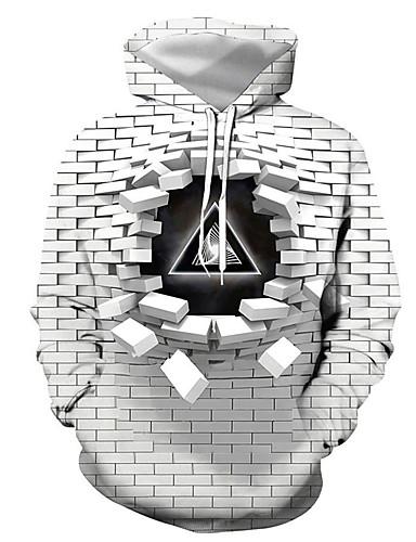 abordables Modèles à Lacets Sweat-Shirts à Capuche-Homme Grandes Tailles Sweat à capuche Géométrique 3D Lettre Capuche Simple Chic de Rue Pulls Capuche Pulls molletonnés Mince Gris