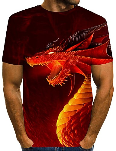 cheap Men's Tees & Tank Tops-Men's T-shirt Graphic Animal Print Short Sleeve Tops Streetwear Round Neck Blue Red