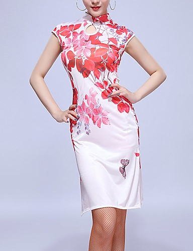 cheap Latin Dancewear-Latin Dance Dress Pattern / Print Women's Training Rayon