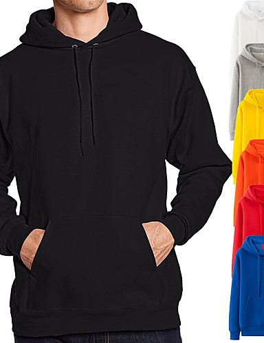 cheap Sports Athleisure-Men's Fleece Hoodie Sweatshirt Long Sleeve Pure Color Pocket Drawstring Sport Athleisure Top Breathable Soft Comfortable Exercise & Fitness Running Everyday Use Daily Casual
