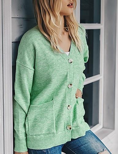 baratos Para Mulheres Jovens-Mulheres Sólido Carregam Manga Longa Casacos de malha Decote V Azul Verde Cinzento