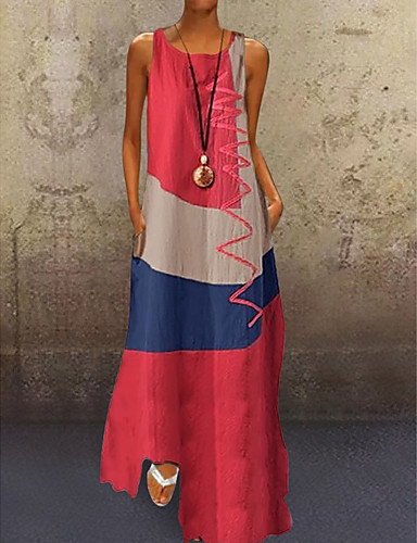 billige Smukke kjoler-Dame A-Linje Kjole Maxi Kjole - Uden ærmer Farveblok Patchwork Sommer Plusstørrelser Afslappet Ferie Ferierejse 2020 Hvid Rød Kakifarvet Dusty Blue S M L XL XXL XXXL XXXXL XXXXXL