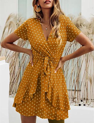 cheap Under USD $9.99-Women's Wrap Dress Short Mini Dress - Short Sleeve Polka Dot Summer V Neck Casual Holiday Vacation 2020 Black Red Yellow M L XL XXL XXXL XXXXL XXXXXL