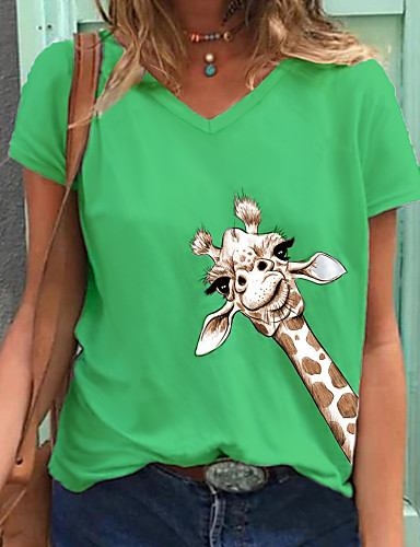 cheap Women's T-shirts-Women's T-shirt Animal V Neck Tops Cotton Basic Top Green Gray White 2