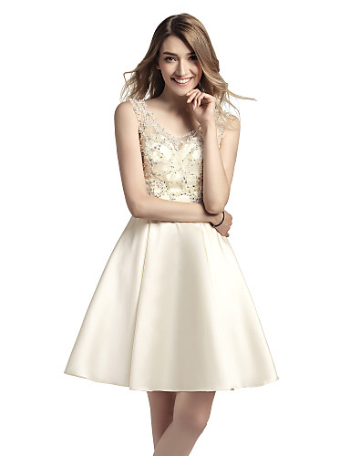 cheap Homecoming Dresses-A-Line Beautiful Back Luxurious Homecoming Cocktail Party Dress Jewel Neck Sleeveless Short / Mini Satin with Beading Sequin 2020