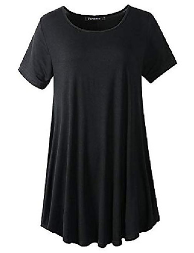 cheap Women's T-shirts-Women's T-shirt Solid Color Plain Flowing tunic Round Neck Tops Basic Basic Top Wine ArmyGreen Black