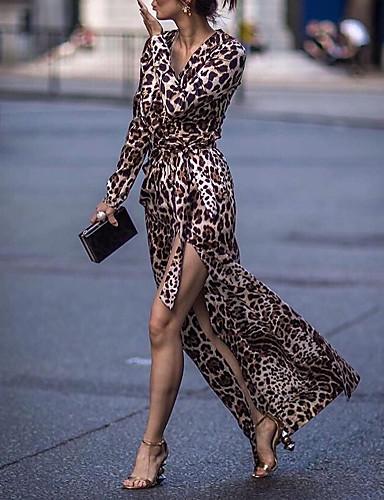 cheap Maxi Dresses-Women's Sheath Dress Maxi long Dress - Long Sleeve Leopard Split Print Summer V Neck Casual Daily 2020 Brown S M L XL XXL XXXL