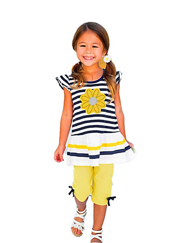 cheap Kids in home-Toddler Girls' Active Daily Holiday Solid Colored Striped Print Short Sleeve Regular Cotton Clothing Set Yellow / Cute