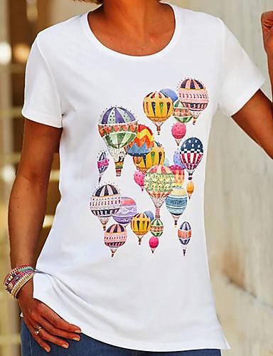 cheap Women's T-shirts-Women's T-shirt 3D Print Round Neck Tops Basic Top White
