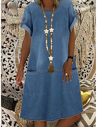 Χαμηλού Κόστους Μίνι Φορέματα-Γυναικεία Φορέματα τζιν Φόρεμα μέχρι το γόνατο - Κοντομάνικο Συμπαγές Χρώμα Καλοκαίρι Καθημερινό Καθημερινά 2020 Θαλασσί M L XL XXL XXXL