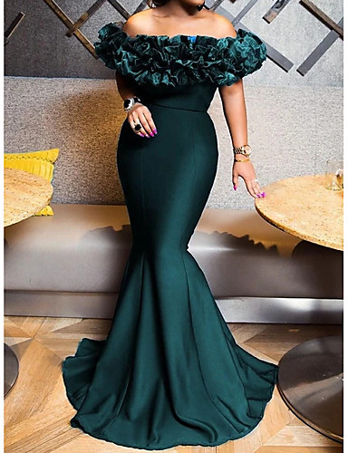 cheap Special Occasion Dresses-Mermaid / Trumpet Elegant Sexy Engagement Formal Evening Dress Off Shoulder Short Sleeve Sweep / Brush Train Stretch Satin with Sleek 2020