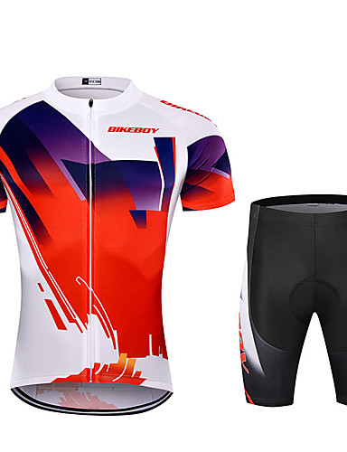 cheap Cycling Jersey & Shorts / Pants Sets-BIKEBOY Men's Short Sleeve Cycling Jersey with Shorts Polyester Red Patchwork Gradient Bike Clothing Suit Breathable 3D Pad Quick Dry Reflective Strips Back Pocket Sports Patchwork Mountain Bike MTB