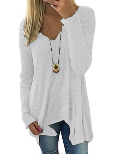 cheap Bestseller on Sale-Women's Casual Solid Colored Long Sleeve Long Pullover Sweater Jumper, Deep V Spring / Fall White / Blushing Pink S / M / L
