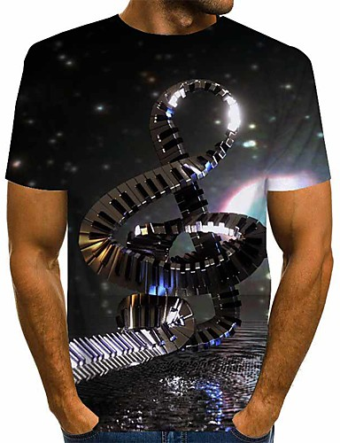 cheap Men's Tees & Tank Tops-Men's T-shirt Abstract Graphic Print Short Sleeve Tops Basic Exaggerated Round Neck Black