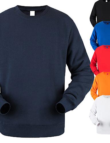 رخيصةأون الرياضة-رجالي قطن كنزة كم طويل لون نقي رياضة أثيريسور قمم متنفس ناعم مريح لياقة بدنية ركض Everyday Use مناسب للبس اليومي فضفاض