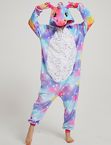 cheap Kigurumi Pajamas-Adults' Kigurumi Pajamas Unicorn Flying Horse Onesie Pajamas Flannel Fabric Blue Cosplay For Men and Women Animal Sleepwear Cartoon Festival / Holiday Costumes / Leotard / Onesie