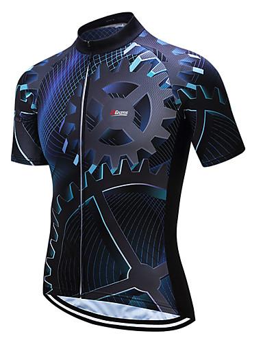 cheap Cycling Jerseys-21Grams Men's Short Sleeve Cycling Jersey Coolmax® Blue / Black Bike Jersey Top Mountain Bike MTB Road Bike Cycling Moisture Wicking Limits Bacteria Sports Clothing Apparel / Stretchy / SBS Zipper