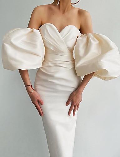 preiswerte Abiball Kleider-Eng anliegend Minimalistisch Sexy Abschlussball Cocktailparty Kleid Sweetheart 3/4 Ärmel Kurz / Mini Taft mit Gerafft 2020