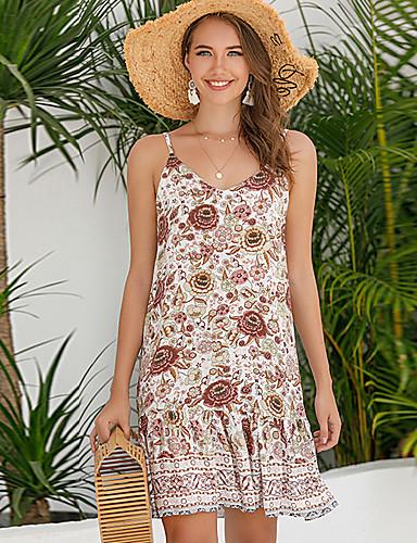 cheap For Young Women-Women's Sheath Dress Knee Length Dress - Sleeveless Floral Summer Work Sexy 2020 Light Brown S M L XL