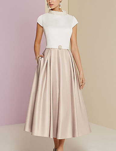 cheap Mother of the Bride Dresses-A-Line Mother of the Bride Dress Vintage Plus Size High Neck Tea Length Satin Short Sleeve with Pearls 2020 Mother of the groom dresses