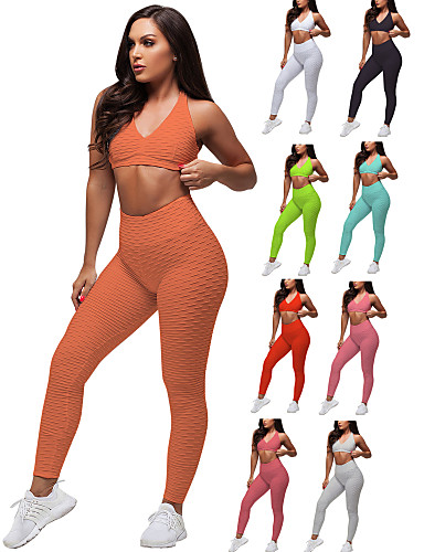 cheap Exercise, Fitness & Yoga-Women's 2 Piece Tracksuit Yoga Suit Ruched Butt Lifting White Black Red Spandex Fitness Gym Workout Running High Waist Leggings Bra Top Sport Activewear Tummy Control Butt Lift 4 Way Stretch