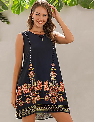 cheap For Young Women-Women's Shift Dress Knee Length Dress - Sleeveless Floral Summer Vintage 2020 Black S M L XL