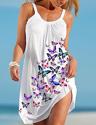 cheap Women's Dresses-Women's Strap Dress Short Mini Dress - Sleeveless Animal Print Summer Casual Daily 2020 White M L XL XXL XXXL